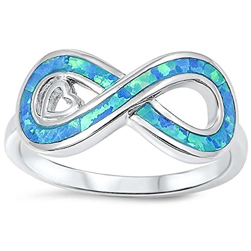 Lab Created Blue Opal Infinity & Heart .925 Sterling Silver Ring Size 10