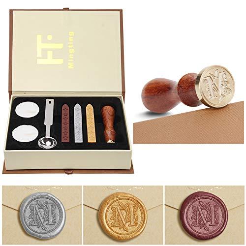 Wax Seal Stamp Kit,Mingting Vintage Wax Stamp Seal Kit Initial Letters Alphabet (M) (M Envelope Seal)