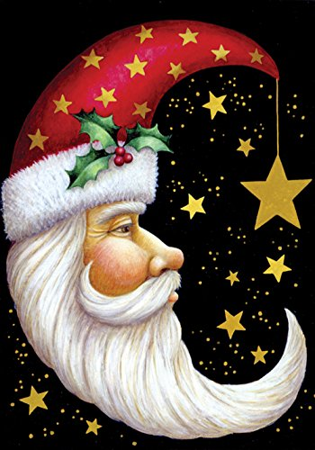 Toland Home Garden Santa Moon 28 x 40 Inch Decorative Winter Christmas Holiday Celestial Star House Flag
