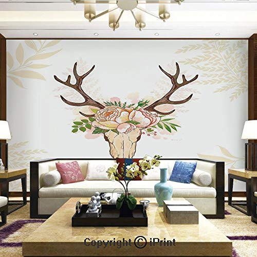 Lionpapa_mural Removable Wall Mural Ideal to Decorate Your Living Room,Horns Soft Flowers Bouquet Spring Nature Theme Rustic Home Decor Decorative,Home Decor - 66x96 inches
