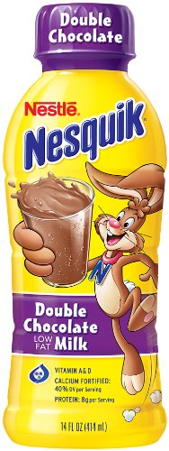 Nestle Nesquik Flavored Milk, Double Chocolate (1%), 14-Ounce Bottles (Pack of 12) Dark Chocolate Strawberry And Double