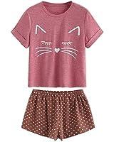 f9bf5432fbd1 DIDK Women  39 s Kitty Cat Print Ruffles Short Pajama Set Purplish ...