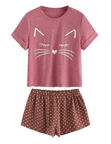 DIDK Women's Kitty Cat Print Ruffles Short Pajama Set Purplish Red L