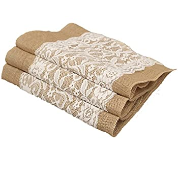 Aokbean Set of 5 Vintage White Lace Burlap Hessian Table Runner Natural Jute Wedding Table Decorations /12x 42 Inches