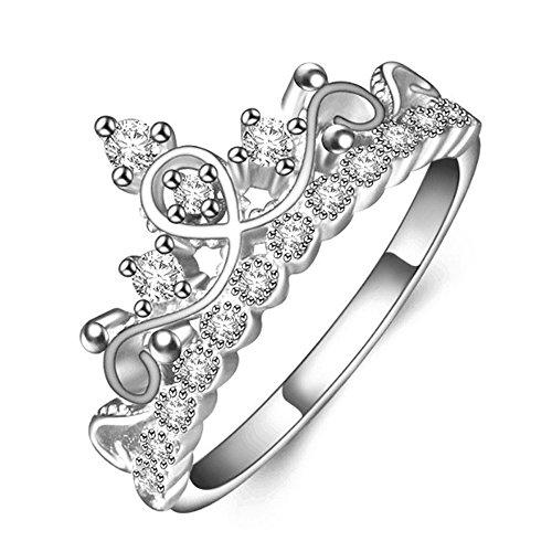 BestWare Queen Ring Princess Crown Ring Queen Crown Ring Rose Gold Queen Ring Queen Promise Ring Silver