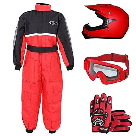 Leopard LEO-X15 Mate Rojo Casco de Motocross para Niños (S 49-50cm) + Gafas + Guantes (S 5cm) + Traje de Motocross para Niños - M (7-8 Años)