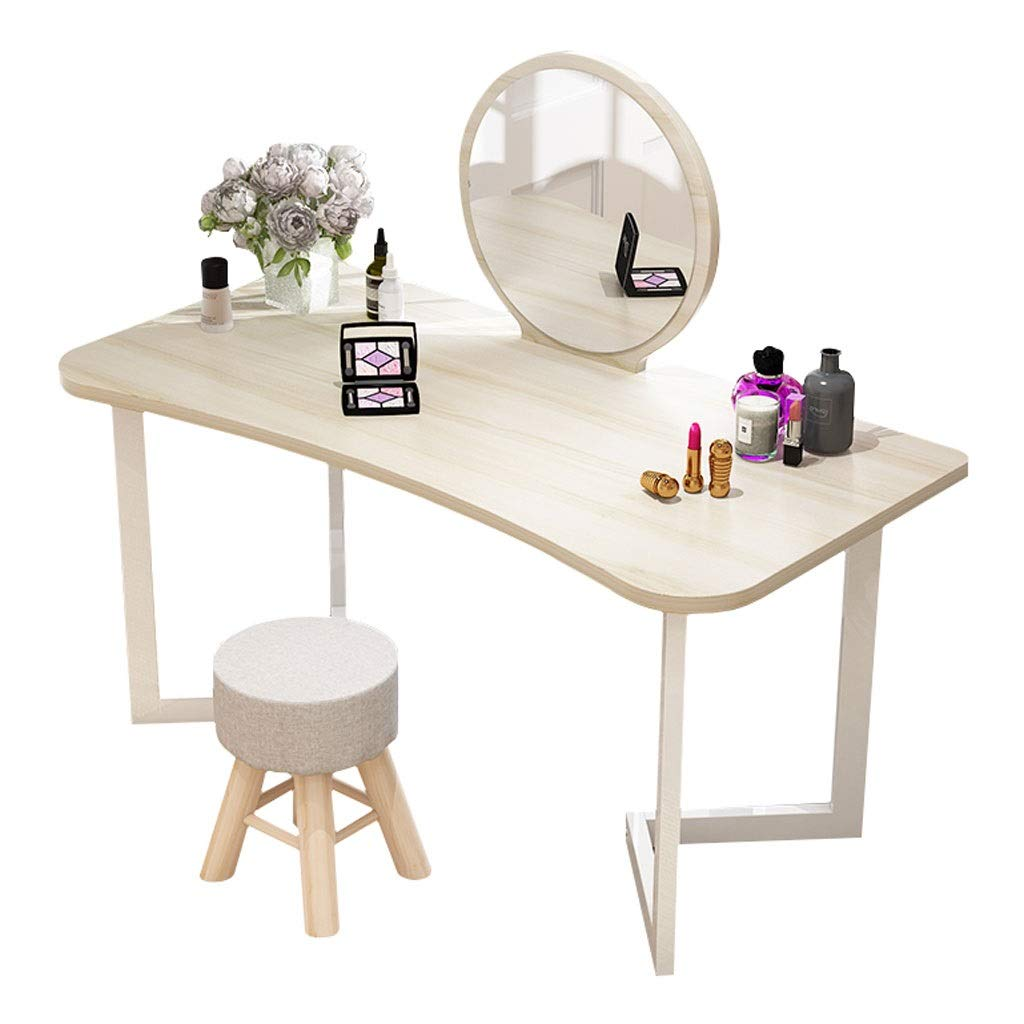 Xilinshop Waschtisch-Set mit rundem Schminkspiegel Schminktisch Schreibtisch mit Polster-Make-up-Hocker Einfache Montage (Color : Beige)