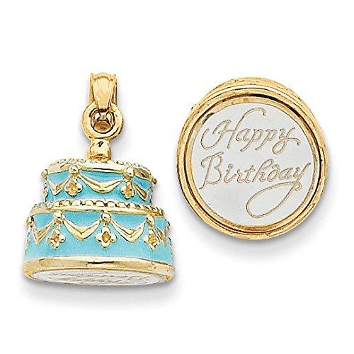 14 carats 3 d Light Blue Happy Birthday Cake Pendentif émaillé Motif JewelryWeb