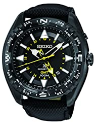 Seiko Men's Prospex Kinetic GMT Black Ion 100 M Black Leather Strap Watch SUN057