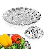 "Sayfine Vegetable Steamer Basket, Premium Stainless Steel Veggie Steamer Basket - Folding Expandable Steamers to Fits Various Size Pot (Medium (6.1"" to 10.5""))"