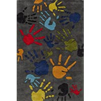 Momeni Rugs LMOJULMJ17GRY3050 Lil Mo Whimsy Collection, Kids Themed Hand Carved & Tufted Area Rug, 3 x 5, Multicolor Handprints on Grey