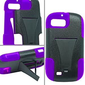 ZTE Fury N850 Director N850L Valet Z665C Hybrid Case with Y Shape Stand Protector Cover - Black and Purple