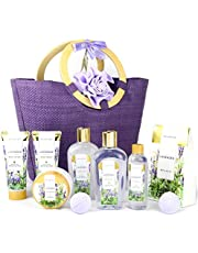 Spa Luxetique Lavender Spa Gift Baskets for Women, Pampering 10pc Bath Gift Sets - Deluxe Tote Bag with Wooden Handles, Bath Salt, Hand Soap &Cream, Shower Gel and Moe, Perfect Christmas, Birthday Gift Idea.