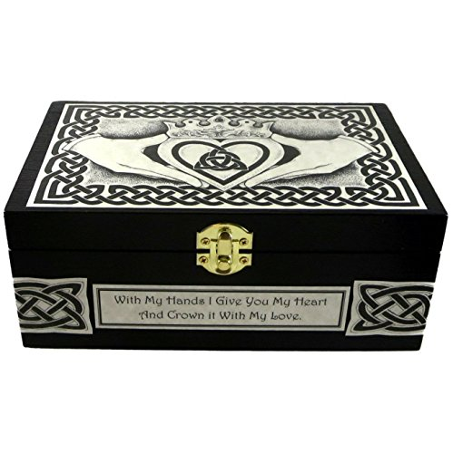 Celtic Claddagh Wooden Box with Custom Message by Dragon Star Creations ()
