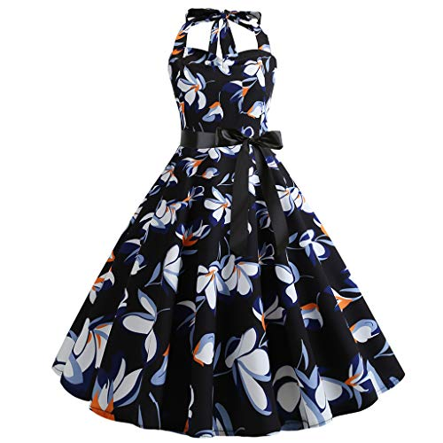 - Women Vintage 1950s Retro Sleeveless Halter Print Evening Party Prom Swing Dress Black