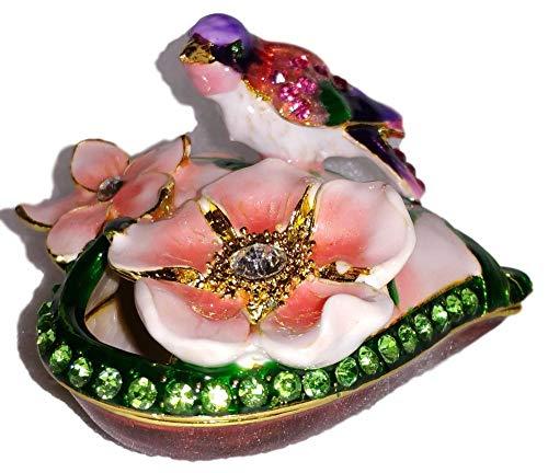Welforth Jeweled Enamel Purple Bird & Pink Flowers Heart Shaped Jewelry Trinket Box