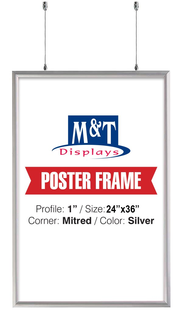 Double Sided Snap Frame, 24'' X 36'' Poster Size, 1'' Silver Color Profile, Mitred Corner