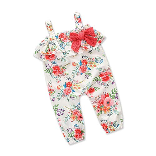 Toddler Baby Little Girls Strap Romper Jumpsuit Floral Corset Sleeveless Bodysuits Summer Clothes Outfits Harem Pants (3-4 Years, Pink) ()