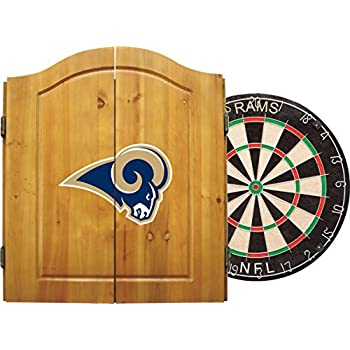 Image of Dartboards Imperial Officially Licensed NFL Merchandise: Dart Cabinet Set with Steel Tip Bristle Dartboard and Darts, Los Angeles Rams