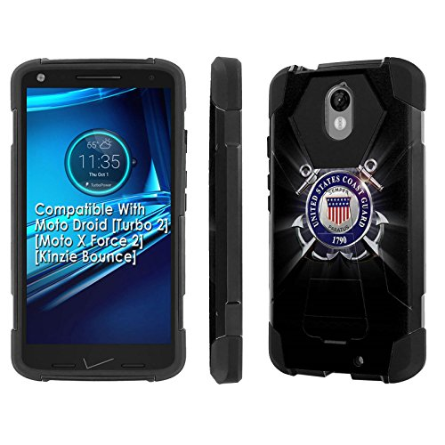 - Moto [Droid Turbo 2] [SlickCandy] [Black/Black] Armor Phone Case [Kick Stand] [Shock Proof] - [United States Coast Guard] for Moto Droid [Turbo 2] [Moto X Force 2] [Kinzie Bounce]