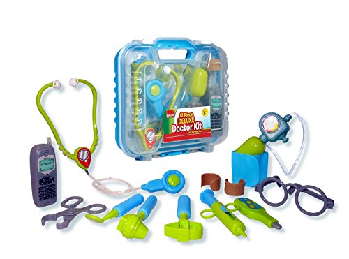 Durable Kids Doctor Kit with Electronic Stethoscope and 12 Medical Doctor's Equipment, Packed in a Sturdy Gift Case - Kids Dr Kit