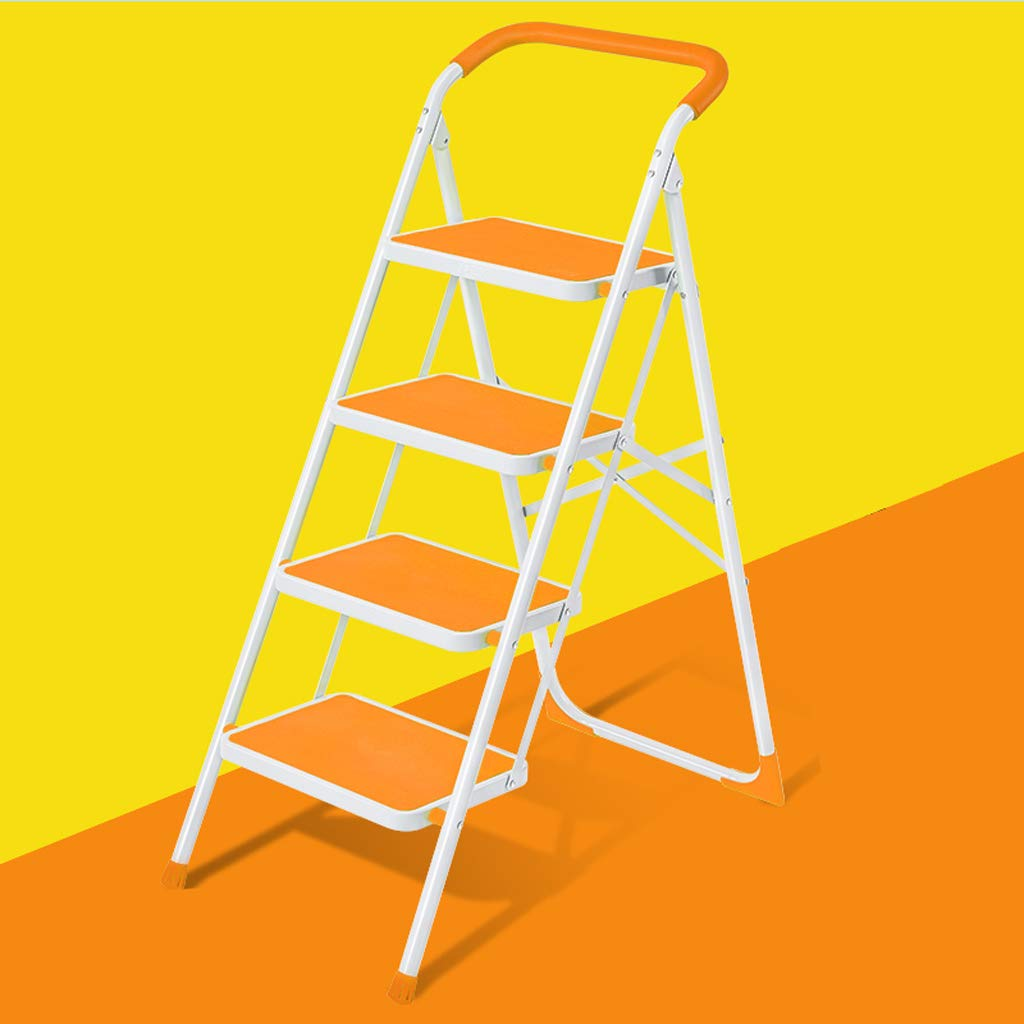 orange HOOPOO Step Stools Step Stool Home Folding Ladder Ladder Thickening Climbing Ladder Four-step Small Ladder Stool Indoor Multi-function Staircase (color   Black)