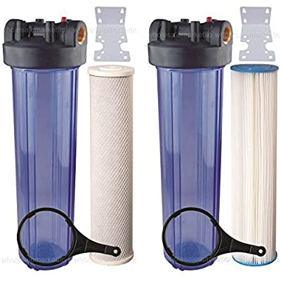"Two 20"" Big Blue Whole House Water Filter w/ Pleated Sediment & Carbon Filters ^ CLEAR BLUE TRANSPARENT HOUSINGS"