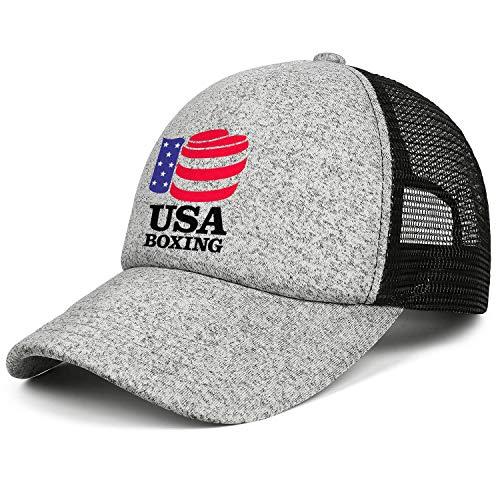 LSHOEJFVG Unisex Men USA-Boxing-Hat Baseball Hats Adjustable Mesh Trucker Flat Cap