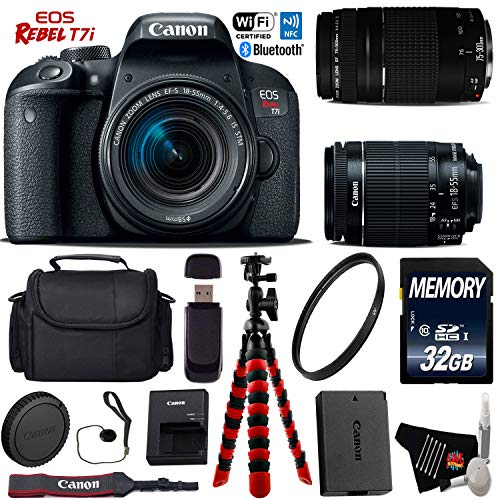Canon EOS Rebel T7i DSLR Camera 18-55mm is STM Lens & 75-300mm III Lens + Flexible Tripod + UV Protection Filter + Professional Case + Card Reader - International Version