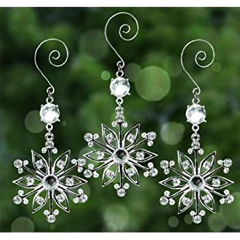 Snowflake Ornaments - Set of 3 Sparkling Crystal and Filigree Snowflakes - Comes in a Beautiful Silver Gift Box - Bring Some Sparkle to Your Christmas Tree, Holiday Decorations, Presents and Gifts