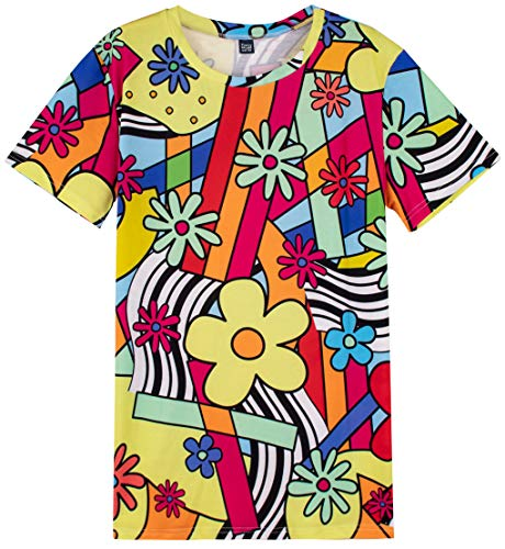 Funny World Men's 1970s Retro Multicoloured T-Shirts (L) -