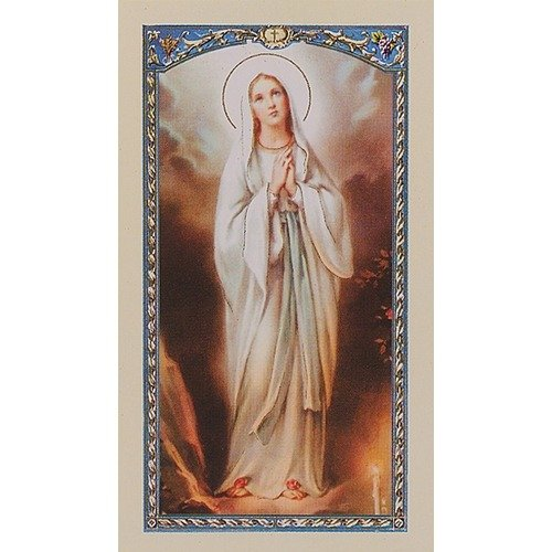 Our Lady of Lourdes Blessed Novena Prayer Gold Embossed Italian Prayer - Rosa Portugal