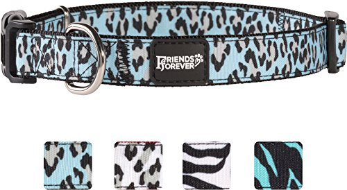Friends Forever Dog Collar for Dogs, Fashion Print Leopard Pattern Cute Puppy Collar, 18-26