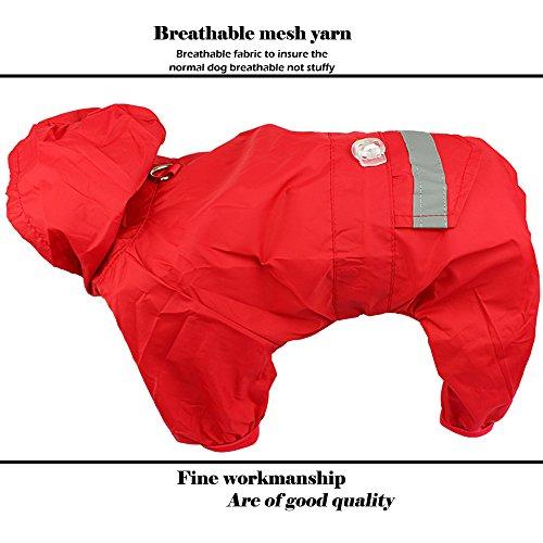 STAR-TOP Pet Dog Cat Raincoat Clothes Puppy Glisten Bar Hoody Apparel Waterproof Camo Rain Jackets(X-Large Red)