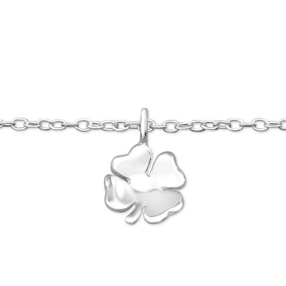 Sterling Silver Lucky Four Leaf Clover Shamrock Anklet Irish Jewelry Nickle Free Sensitive Skin (E27656)