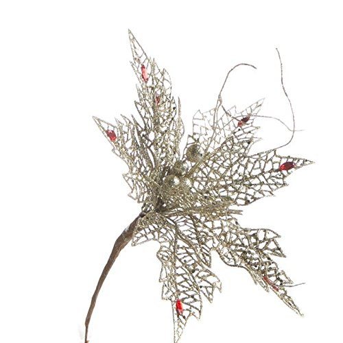 (Factory Direct Craft Trio of Elegant Sparkling Platinum Mesh Poinsettia Picks for Holiday and Home Decor)