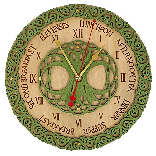Celtic meal times wooden wall clock unique kitchen vintage style decor emerald green. personalized, housewarming, One-of-a-kind, victorian, gift ()