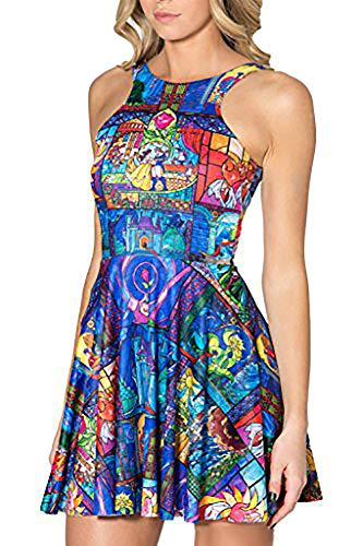 QZUnique Women's Cartoon Printed Stretchy Sleeveless Pleated Fit