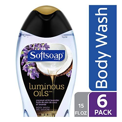 Softsoap Body Wash Luminous Oils, Coconut & Lavender, 15 Ounce (Pack of 6) - Softsoap Hydrating Wash Body