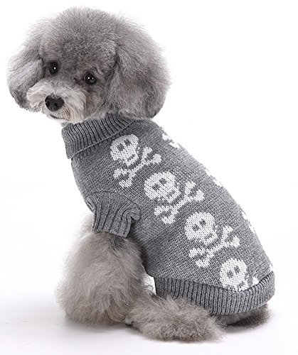 MaruPet Christmas Dog Ribbed Knit Sweater Knitwear Turtleneck Toxic Kintted Doggie Halloween Hoodies Apparel for Small Dog Gray XXL (Gray Dog Knit Sweater)