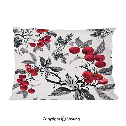 Rowan Bed Pillow Case/Shams Set of 2,Artwork of Mountain Ash Plants Watercolor Painting Style Shrubs Forest Foliage King Size Without Insert (2 Pack Pillowcase 36