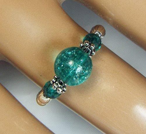 Cynthia Lynn TURMALI BLUE Indicolite Blue Tourmaline in Quartz Gemstone Silver Plated Stretch Ring ()