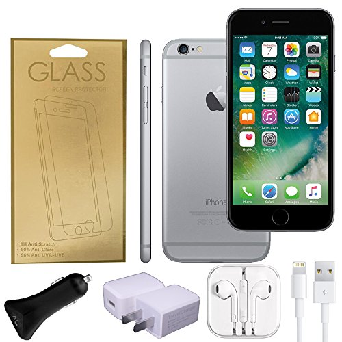 Apple iPhone 6 Factory Unlocked GSM 4G LTE Smartphone (Certified Refurbished) + A-Cell Accessory Pack (Space Grey, 16)