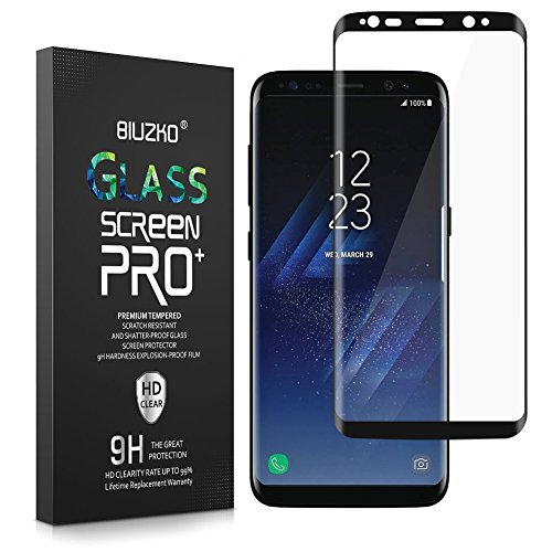 BONUM Full Coverage, HD Ultra-Clear, Anti-Fingerprint, Bubble-Free Curved Protection Tempered Glass Screen Protector for Galaxy S8 Plus – Black
