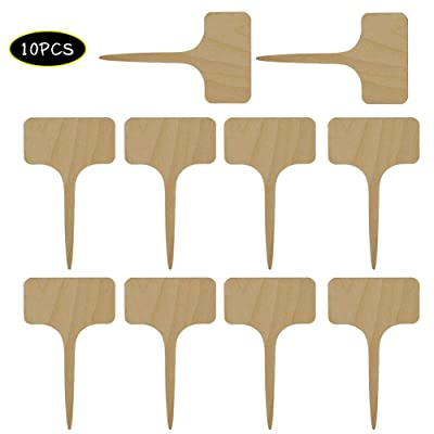 INFILM 10/20Pcs Wooden Plant Tags,T-Type Garden Nursery Labels Stakes Flower Vegetables Plant Markers for Greenhouse Humidity Dome Orchard Botanical(5 x 10cm): Garden & Outdoor