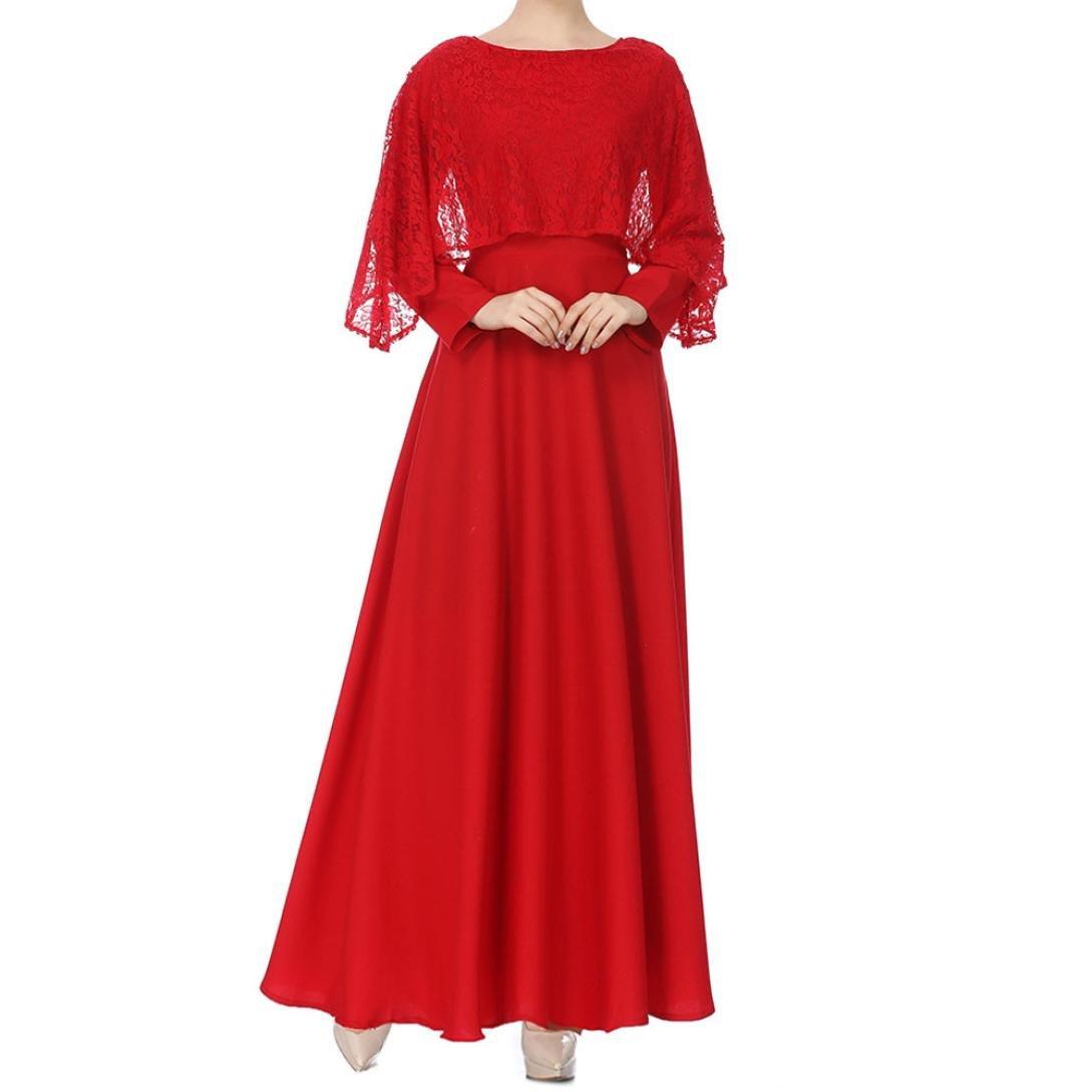 Rucan Women Muslim Kaftan Abaya Jilbab Long Sleeve Lace Long Maxi Dress (B, Large)