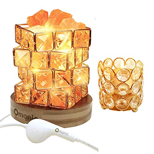 Natural Himalayan Salt Lamp and Crystal Beads Tea Light Candle Holder 2 Pack Set, Pink Salt Glow Rock in Crystal Basket Table Lamp with Bamboo Wood Base UL-Listed Touch Dimmer Switch Control 3 Bulbs