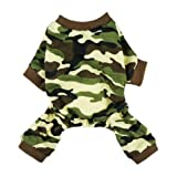 Fitwarm Stylish Army Green Camouflage Dog Shirts Jumpsuit for Pet Cat Camo Clothes Apparel, Large
