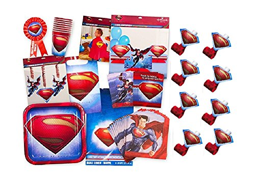 Superman Party Supplies Ultimate Set -- Superman Birthday Party Favors, Decorations, Cape, Table Cover, Invitations and More -