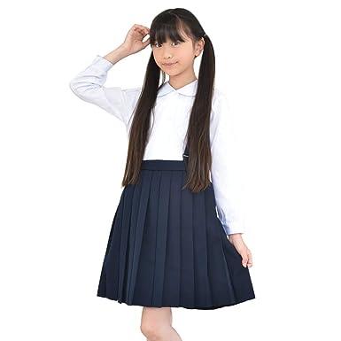 ae191c934c80c Amazon.co.jp: 小学生 制服 プリーツ スカート キッズ 女子 紺 A体 110A ...